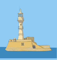 old stone lighthouse in chania vector image