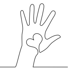 one continuous line hand with heart concept vector image