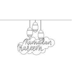 one single line drawing happy eid al fitr vector image