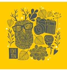 Owl in eyeglasses with horns on the autumn vector
