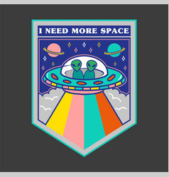 Patch with ufo and aliens for print vector