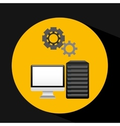 Pc data base gear icon graphic vector