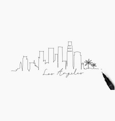 Pen line silhouette los angeles vector