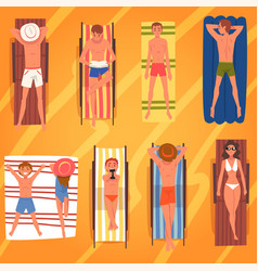 people sunbathing on beach towels set top view of vector image