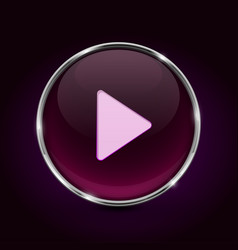 play button 3d pink icon on black background vector image