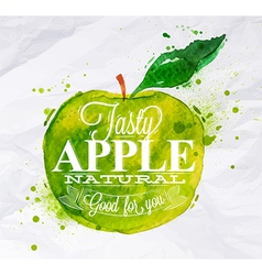 Poster watercolor apple green vector image