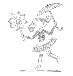 Pretty girl acrobat walking a tightrope vector