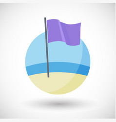 Purple beach flag flat icon vector