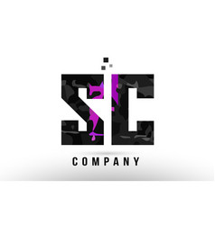 Purple black alphabet letter sc s c logo vector