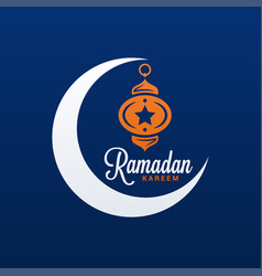 ramadan kareem logo eid mubarak on blue vector image