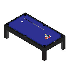 realistic pool table with set of billiard balls vector image