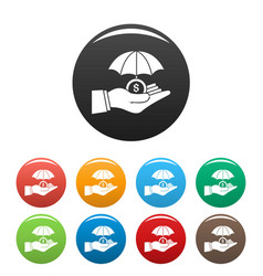 safe money hand icons set color vector image