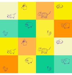 Seamless background with domestic animal kids draw vector image