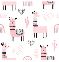 seamless pattern with llama princess hearts vector image