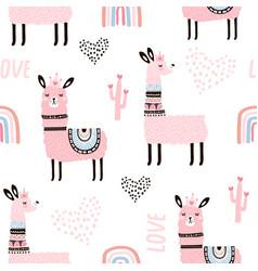 seamless pattern with llama princess hearts vector image
