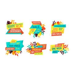 Seasonal autumn sale and discount emblems set vector