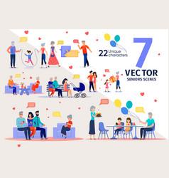 senior people family support flat scene set vector image
