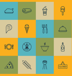 set of 16 food icons includes cutlery grill vector image