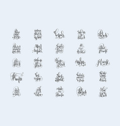 Set of 25 hand lettering inscriptions about travel vector