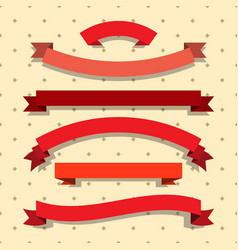 set of red ribbons on dotted background vector image