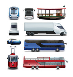 set public transport vector image