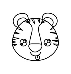 Sketch silhouette of kawaii caricature face tiger vector
