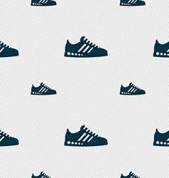 Sneakers icon sign Seamless pattern with geometric vector image