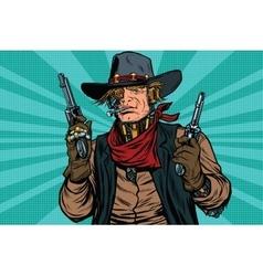 Steampunk robot cowboy bandit with gun vector image