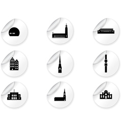 Stickers with landmark icons - Stockholm vector image