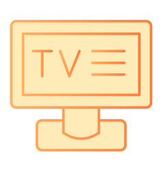 television flat icon display orange icons in vector image