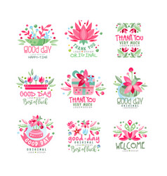 thank you good day welcome logo design set card vector image