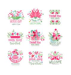 Thank you good day welcome logo design set card vector