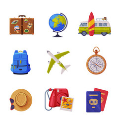 Travel time with tourism attribute like globe vector