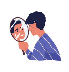 Ugly man with acne looking at mirror reflection vector