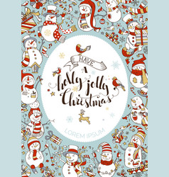 Vertical christmas snowmen background vector