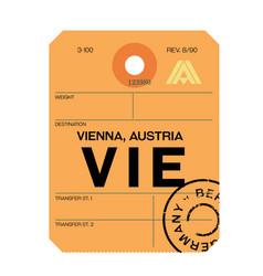 Vienna airport luggage tag vector