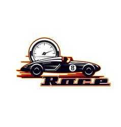 Vintage car racing old sport motors rally races vector