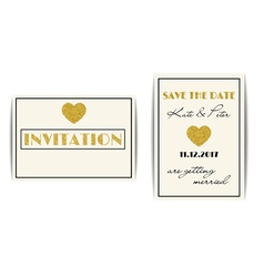 Wedding invitations with gold glitter hearts Save vector image