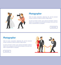 Wedding photographer and paparazzi web banners set vector