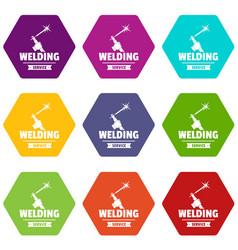 Welding workshop icons set 9 vector