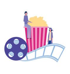 Women cinema popcorn reel strip movie film vector