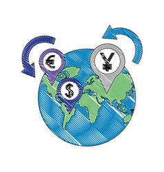 world business money currency coins dollar yen vector image