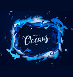 World oceans day paper art origami sea waves vector