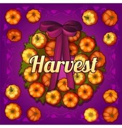 Wreath on the door of pumpkins vector