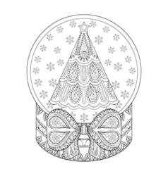 zentangle snow globe with Christmas tree Hand vector image