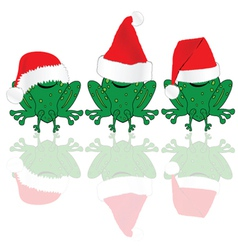 Frog with red christmas hat vector