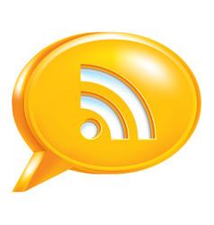 Orange speech bubble icon rss sign or wi-fi signal vector