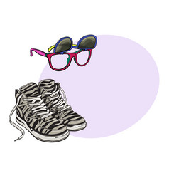 personal items from 90s - high sneakers vector image vector image