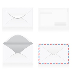set of white blank envelopes 01 vector image vector image
