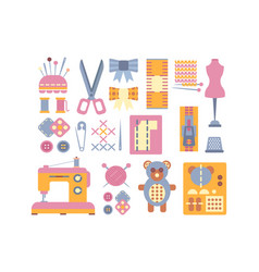 sewing supplies and tools set elements for vector image